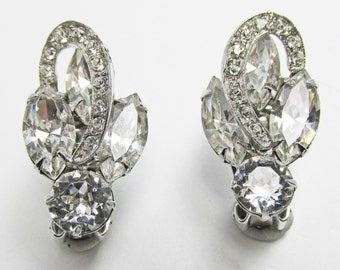 Vintage-Collectible-Weiss-Jewelry-Silver-Rhinestone-Earrings-Costume Jewelry-Unique-Women-Gift-Birthday Gift-Anniversary Gift-Wedding