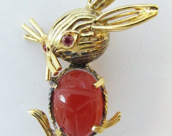 Adorable Vintage Signed CR Co (Reis Company)  Sterling Scarab and Rhinestone Figural Rabbit Pin