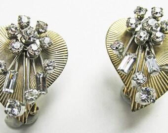 Vintage 1950s Signed Beaujewels Three Dimensional Rhinestone Earrings