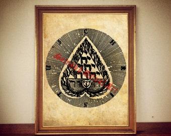 Tetraklys print, heart illustration, occult symbol, esoteric art, Jakub Boehme poster, Christian Kabbalistic diagram, Cabala #301