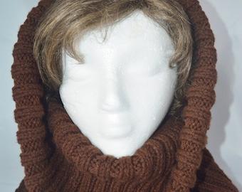 Knit Cowl, Chunky Snood, Infinity Scarf, Handmade Snood, Brown Snood