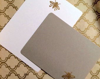 Gold Embossed Bee Stationery Great Gift