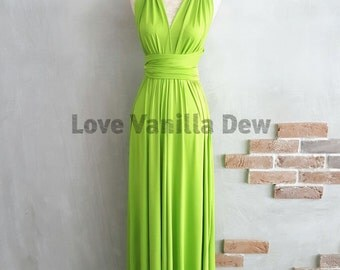 Bridesmaid Dress Infinity Dress Lime Green Floor Length Maxi Wrap Convertible Dress Wedding Dress
