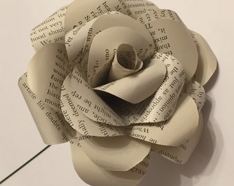 Book page paper rose, paper roses, gift for her, everlasting flowers, book page rose, long stem rose, wedding flowers, paper bouquet