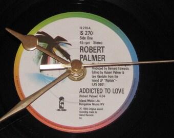 "Robert Palmer addicted to love   7"" vinyl record clock"