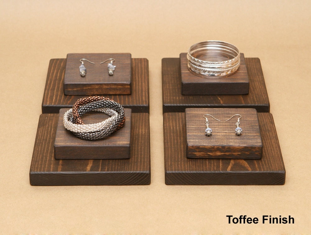 Wooden jewelry display riser for ring earring bracelet r004 for Jewelry displays