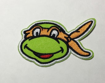 Iron on Sew on Patch:  Turtle with orange mask