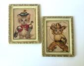 FREE SHIPPING sale retro/vintage 1950s kitty cat kitsch wall art prints new baby nursery