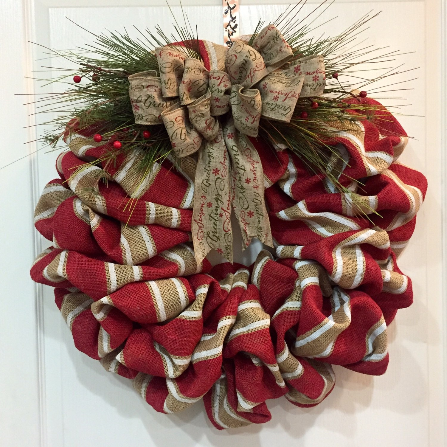 Burlap christmas wreath christmas door wreath christmas Burlap xmas wreath
