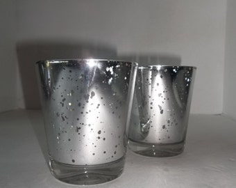 YARD SALE.....Pair of Silver Mercury Glass Candle Holders
