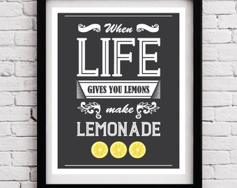 When Life Gives You Lemons Quote - Quote art - Inspirational print - Typography print - Typographic print - Quote poster - Retro poster