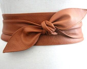 Tan Brown Leather Obi Belt | Obi Belt | Corset belt | Plus size belts | Sash Belt | Bridal Belt | Leather Corset Belt | Brown Leather Belt
