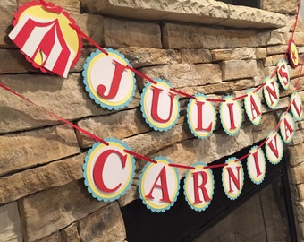 Carnival Banner, Circus Banner, circus birthday party,carnival birthday party, circus baby shower, carnival party decor