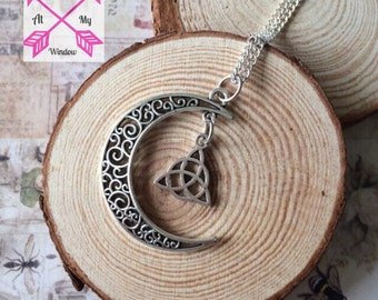 Moon and celtic knot necklace, Moon necklace, Celtic knot necklace, Moon pendant, Celtic knot pendant,