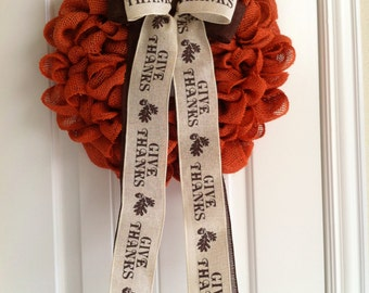"""Orange Fall or Thanksgiving Burlap Wreath with """"Give Thanks"""" Bow"""