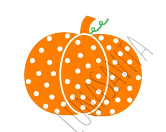 Polka dot Pumpkin SVG, DXF Files for Cricut Design Space, Silhouette Studio, Die Cut Machines, Instant Download of svg, dxf, & jpg