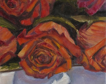 Roses, Still Life, Original Oil Painting, Square Painting