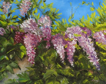 Wisteria, Original Oil Painting, Palette Knife Painting