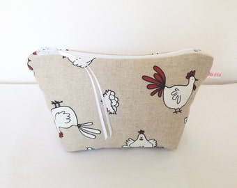 Make Up Bag, Chickens Cosmetic Bag, Chickens Pouch, Make Up Bag, Handbag Tidy, Mobile Accessories Bag, Hair Accessories Bag, Pouch, Purse