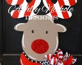 SHIPS NOW!!  Rudolph the Red Nosed Reindeer Door Hanger, Christmas Door Decor, Christmas Wreath, Front Door Decoration