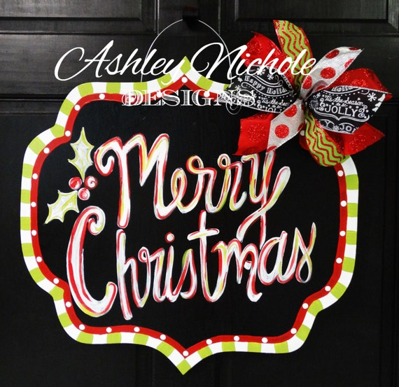 Items similar to merry christmas chalkboard style plaque