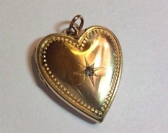 Vintage Heart Gold Filled Locket With Center Rhinestone