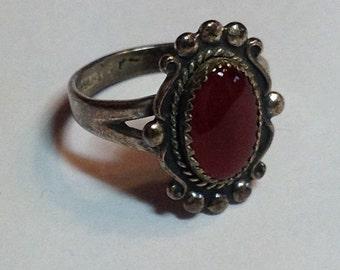 Vintage Sterling Silver Carnelian Southwestern Native American Ring