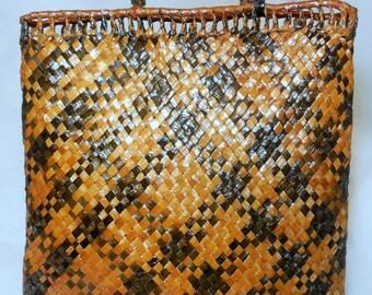 Vintage Charleston Hand Woven Checkered Tote
