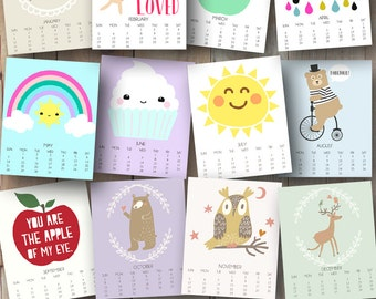 printable 2017 monthly wall calendar with inspirational art and quotes for kids room and nursery - 8x10 inches