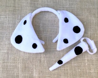 Dalmation Puppy Ears and Tail / Puppy Ears Headband