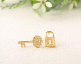 Gold Lock and Key Stud Earrings