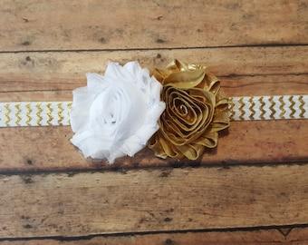 White and Gold Headband