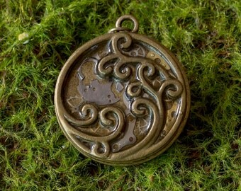 Vintage watch parts Steampunk Pendant- Japanese Ocean Wave