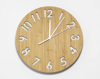Modern All Numbers Wall Clock - White