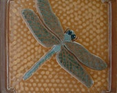 6 inch Dragonfly tile for fireplace and kitchen. Ocher & turquoise. Craftsman Bungalow style.