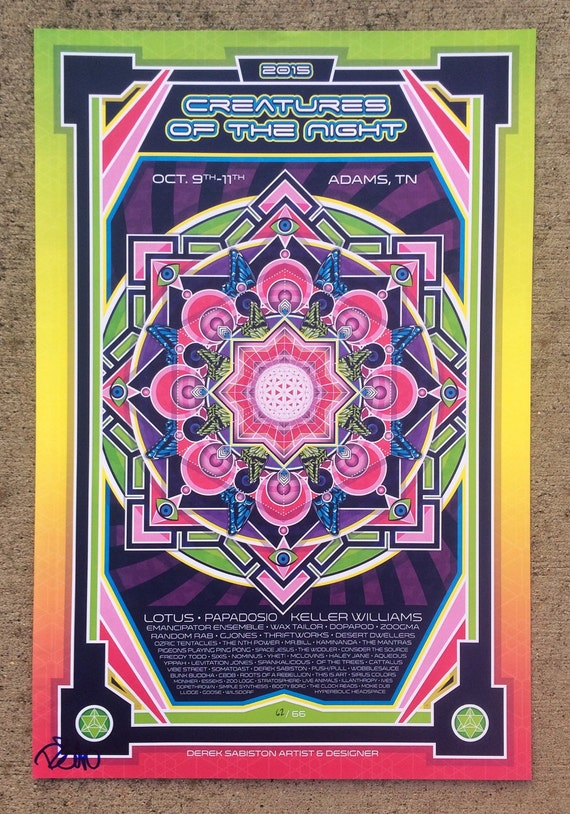 Creatures of The Night Music Festival Print Poster Lotus Keller Williams The Mantras