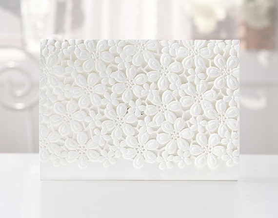Custom Laser Cut Laced Floral White Wedding Invitations - BH4119 - Free Envelopes & Silver Seals - Free Shipping Promotion