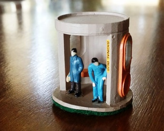 Canberra Bus Shelter - 3D Printed Miniature - Two Men Waiting for Bus