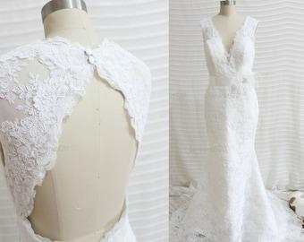 White Mermaid Lace Wedding Dress, mermaid wedding dress mermaid bridesmaid dress mermaid dress lace dresses New Arrive