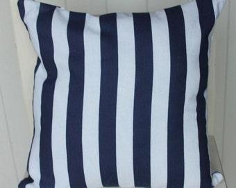 Navy & White striped linen cushion