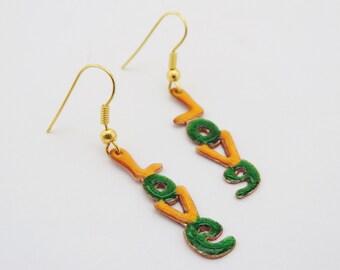Love Copper Enameled Dangle Earrings in Green a nd Yellow Colors