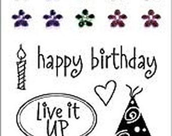 "Hero Arts ""Live it Up"" Clear Stamp Set/birthday/celebrate"