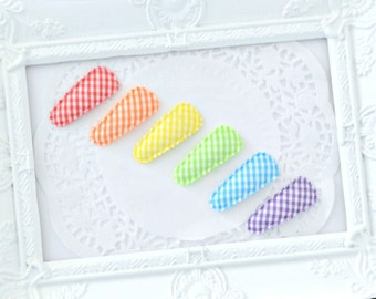 Baby / Toddler Bright Gingham Hair Clips – Set of Six Rainbow Snap Clips - Ready to Post