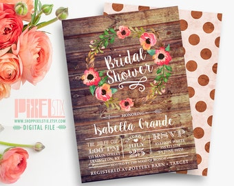 Rustic Bridal Shower Invitation, Autumn Shower Invite, Barn Wood and Floral Wreath, Bridal Luncheon, Fall Wedding CUSTOMIZABLE & PRINTABLE