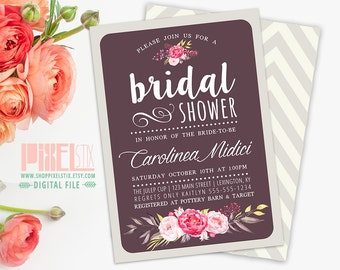 Floral Bridal Shower Invitation, Shabby Chic Pink And Gold Flowers, Plum  And Tan Chevron