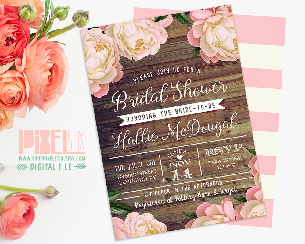 Wedding Shower Invitations Free: Rustic Floral Bridal Shower Invitation Floral Bridal Shower