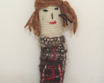 Primitive Folk Art Worry Doll - Wool Doll with Red Hair