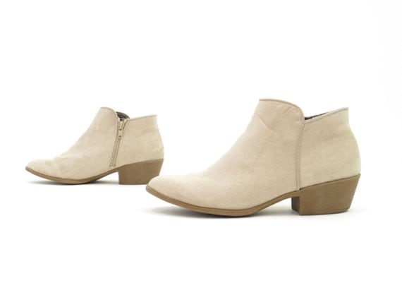 Suede Chelsea Boots Women's Booties Ankle Boots Beige Tan