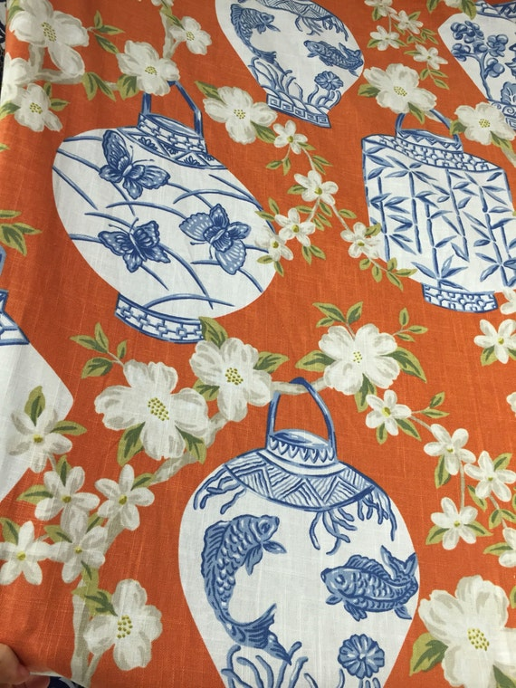 blue orange chinoiserie asian lanterns upholstery fabric by the yard drapery fabric. Black Bedroom Furniture Sets. Home Design Ideas