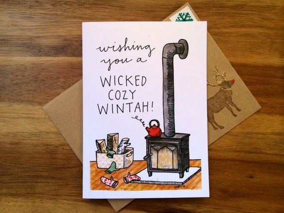 Cozy Wood Stove Cards, 5 x 7 (A7), blank inside